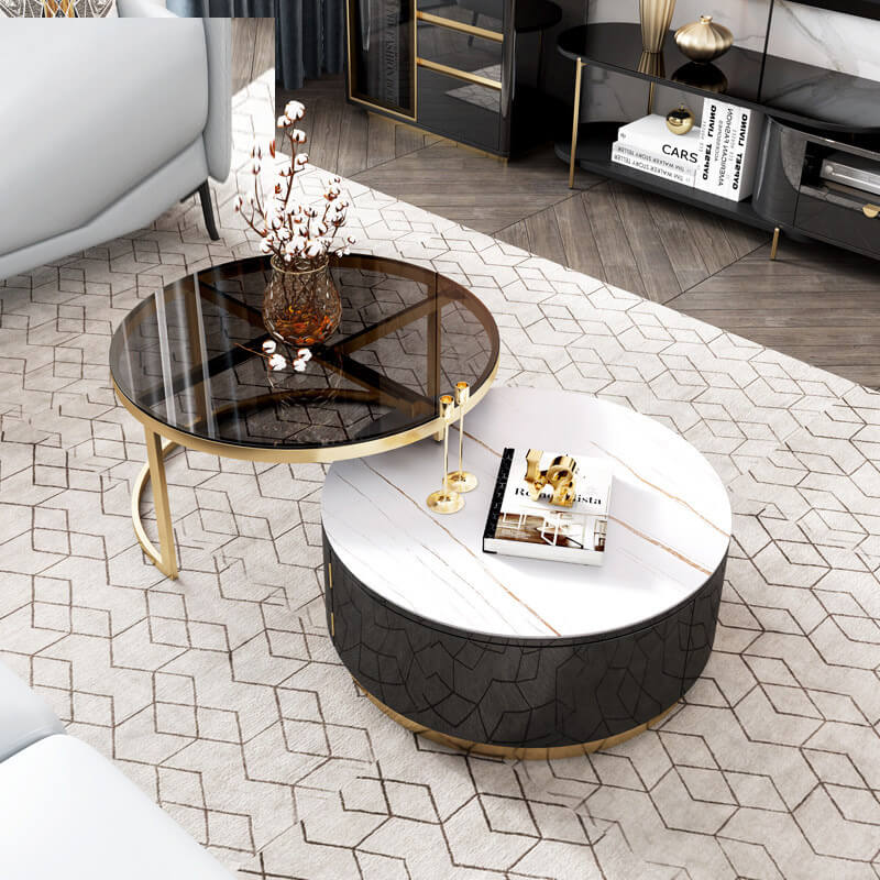 round tempered glass top split level coffee table