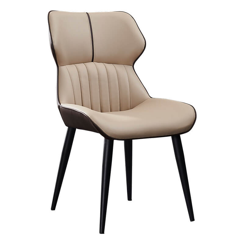 sand brown bucket seat pu leather dining chair