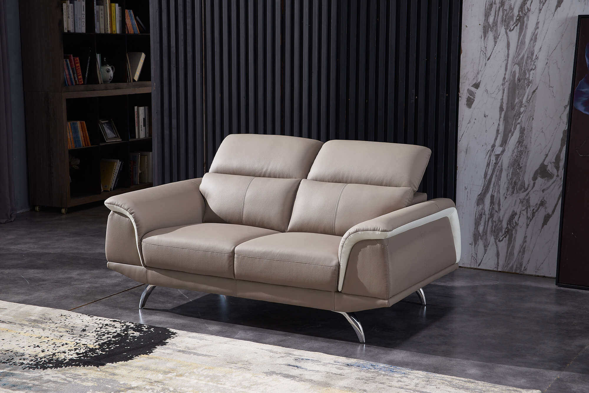 sand leather two tone 3 seater sofa detail