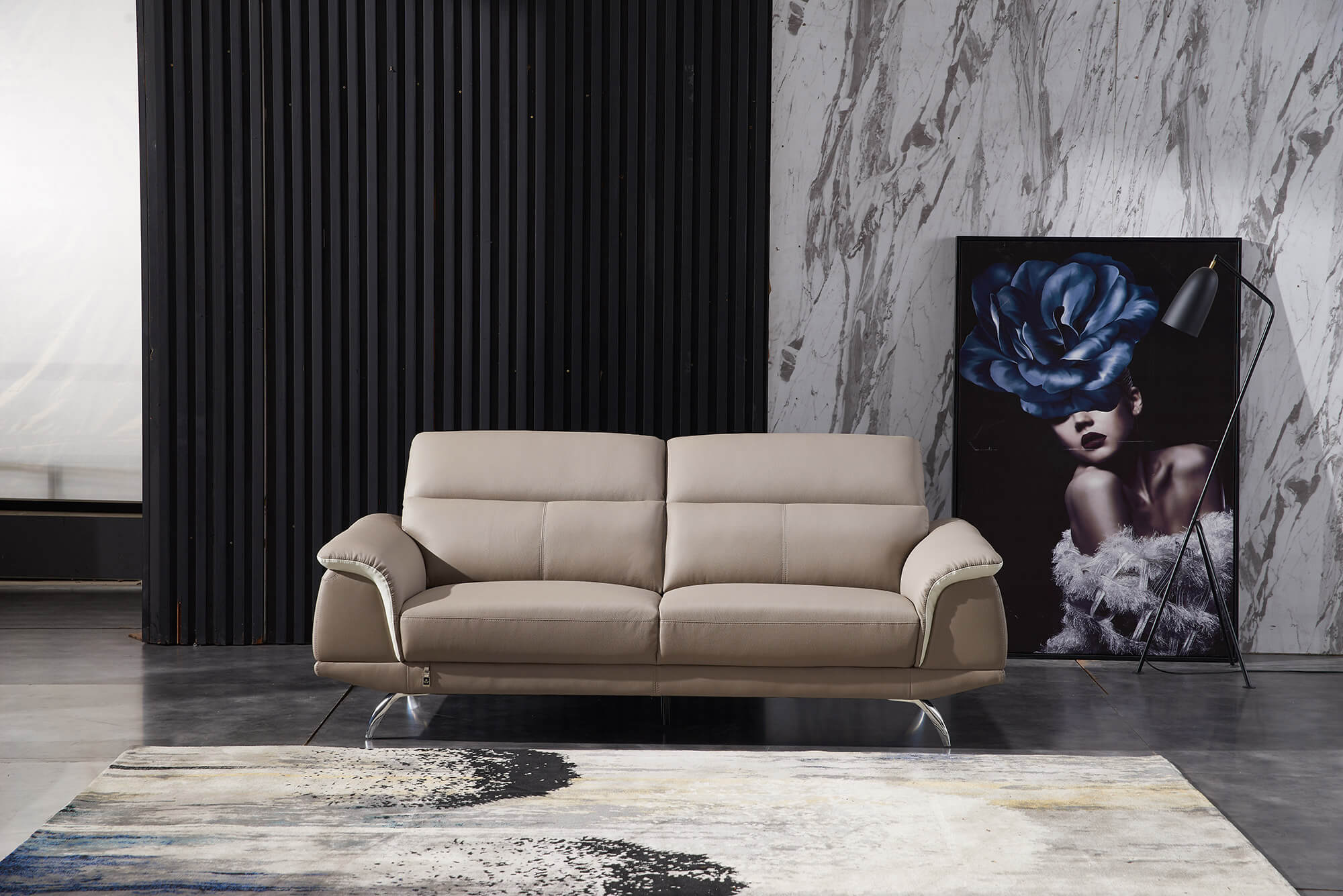 sand leather two tone 3 seater sofa front living room