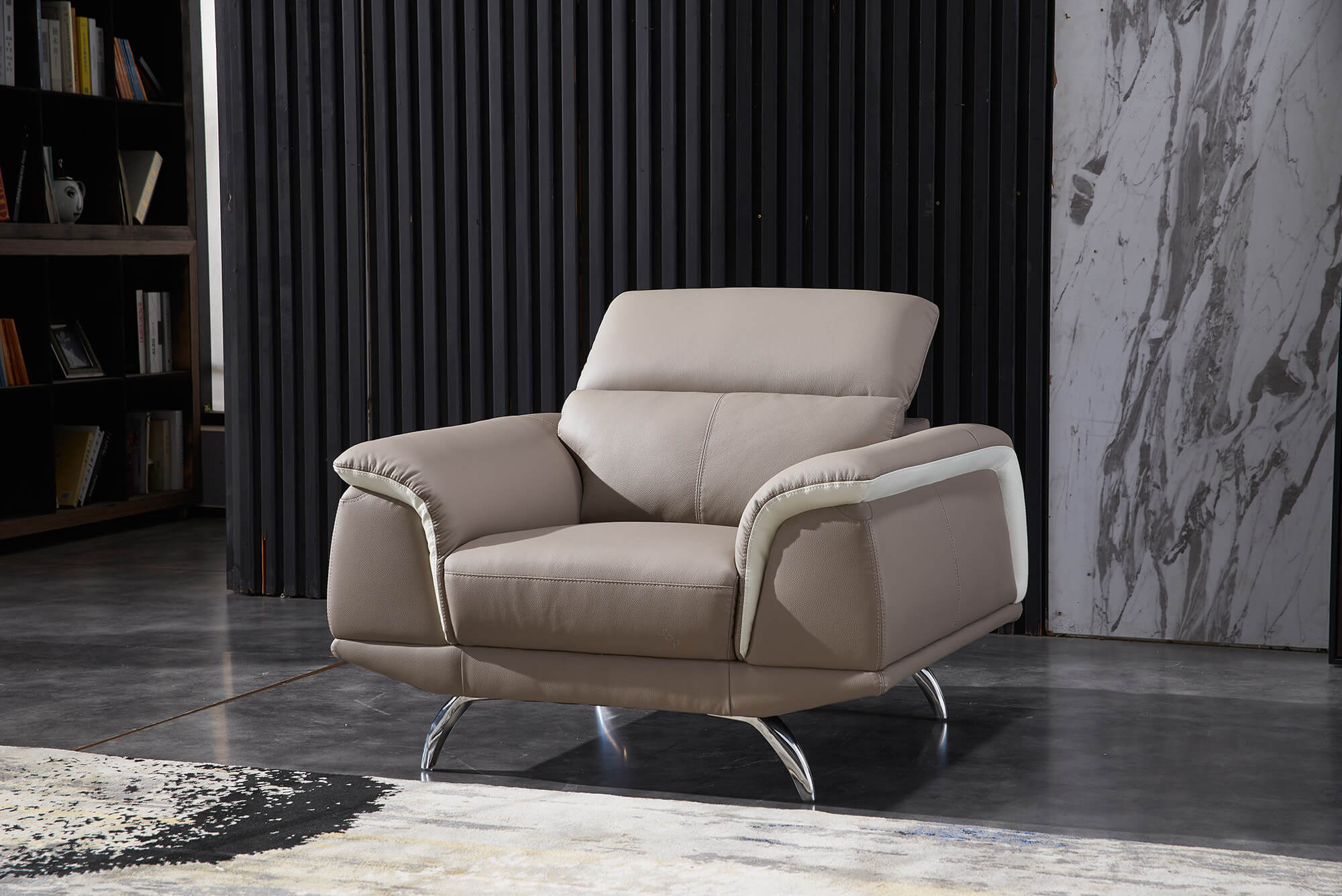 sand leather two tone sofa armchair