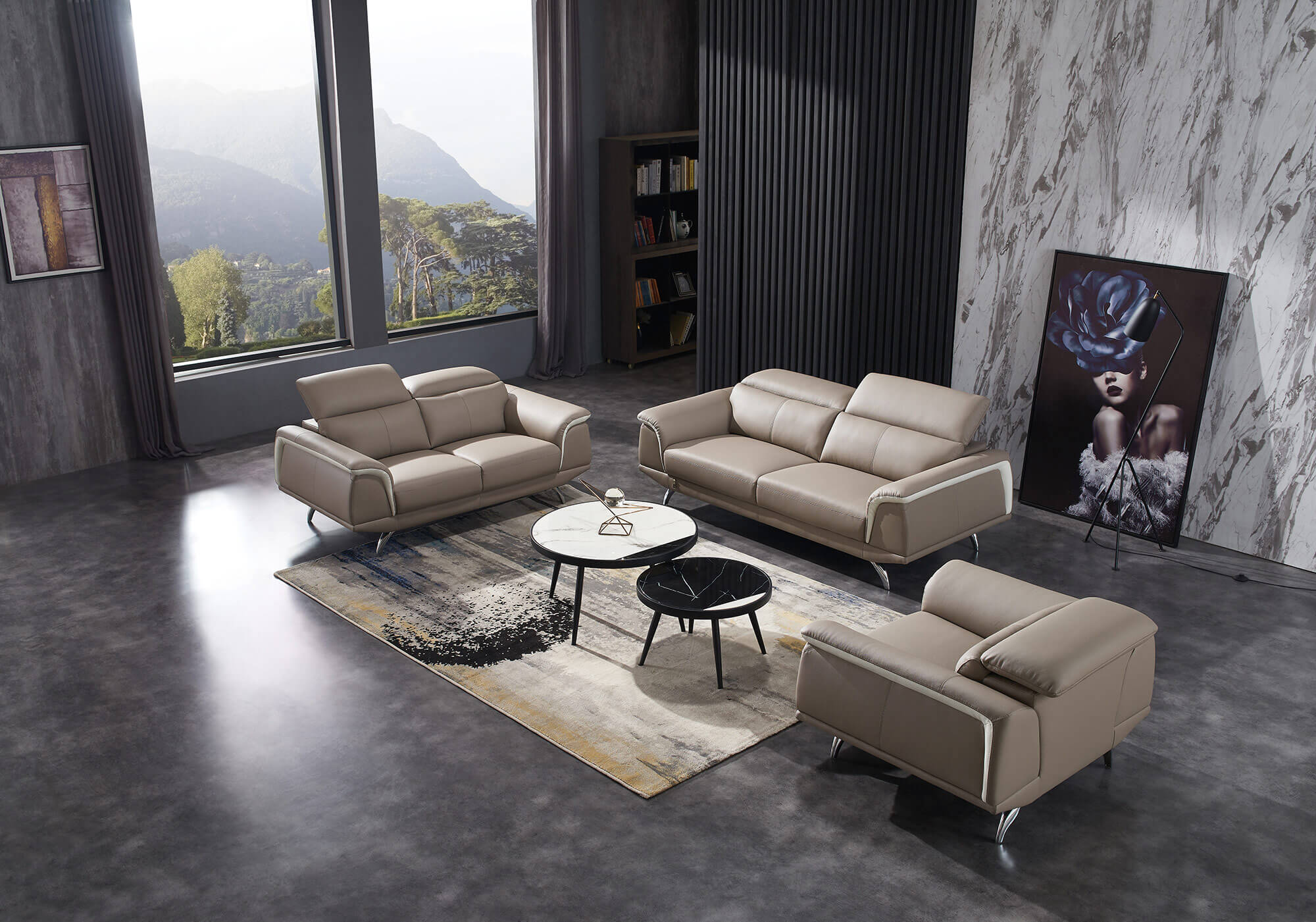 sand leather two tone sofa set furniture