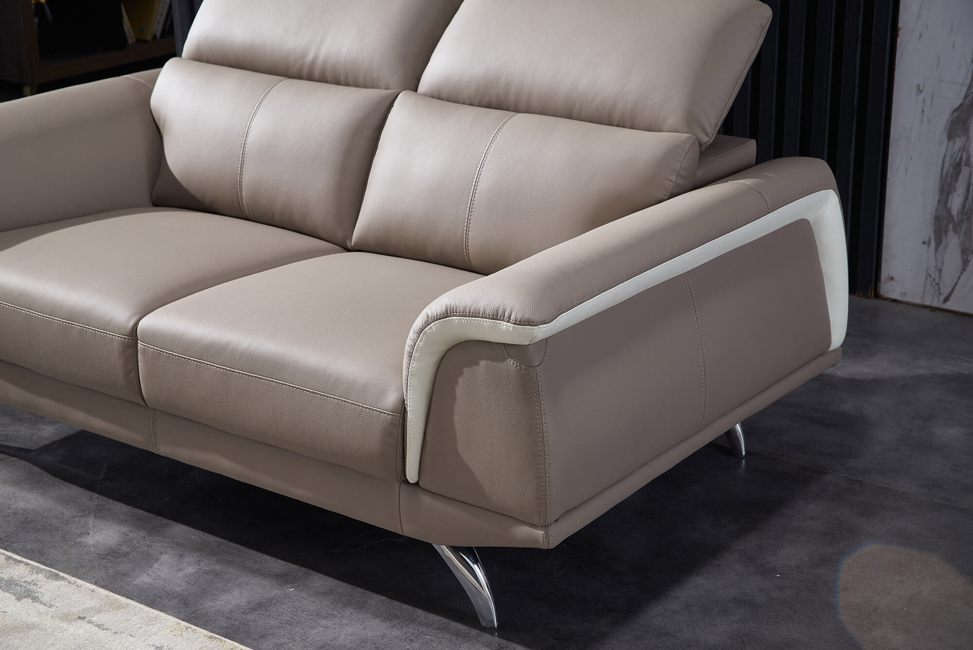 sand leather two tone three seater sofa accent
