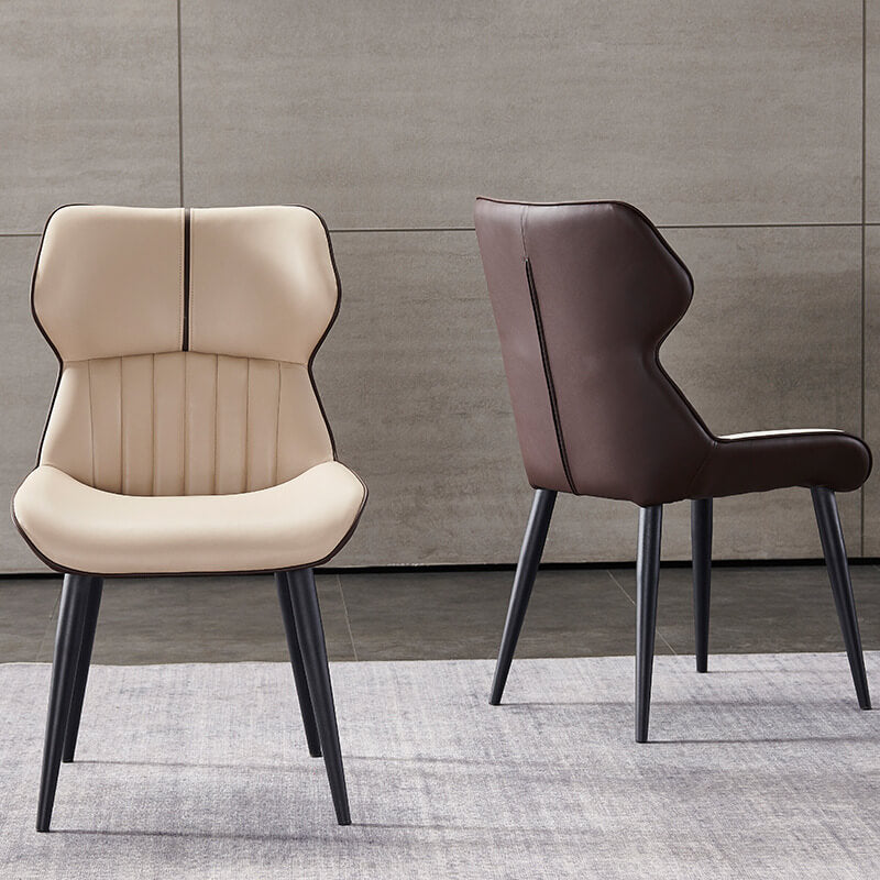 scoop bottom two tone pleated pvc leather dining chair