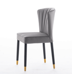 silver fabric cushion pleated dining chair