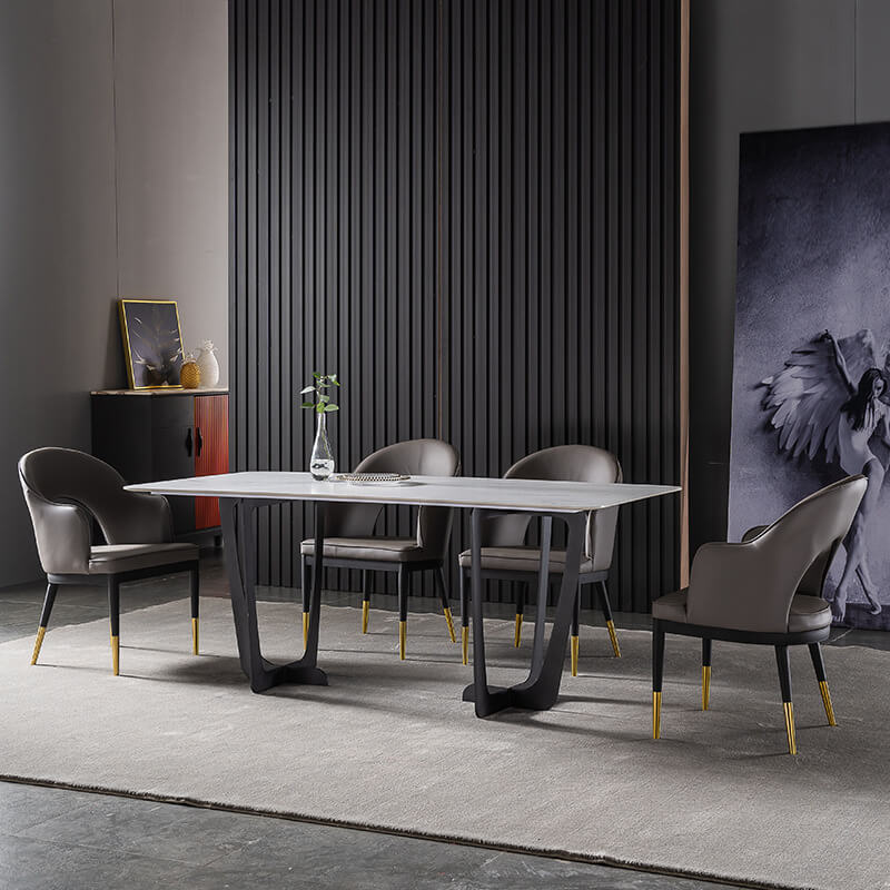 sintered stone dining table with carbon metal leg