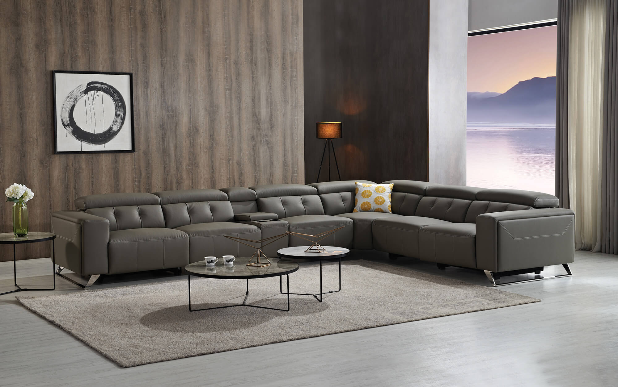 slate grey electric recliner sectional sofa
