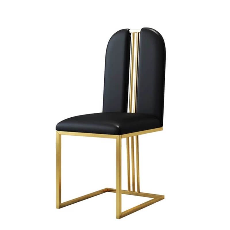 sleek black armless retro dining chair with gold legs