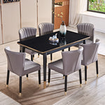 sleek pleated silver dining chair 6 seater table