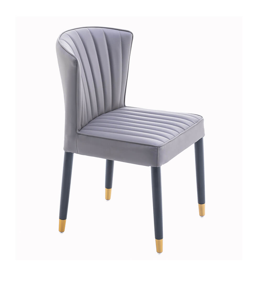 soft gray pleated mid back dining chair