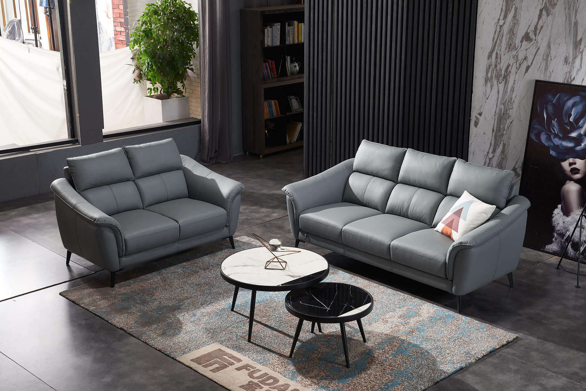 steel grey leather 2 seater and 3 seater sofa set