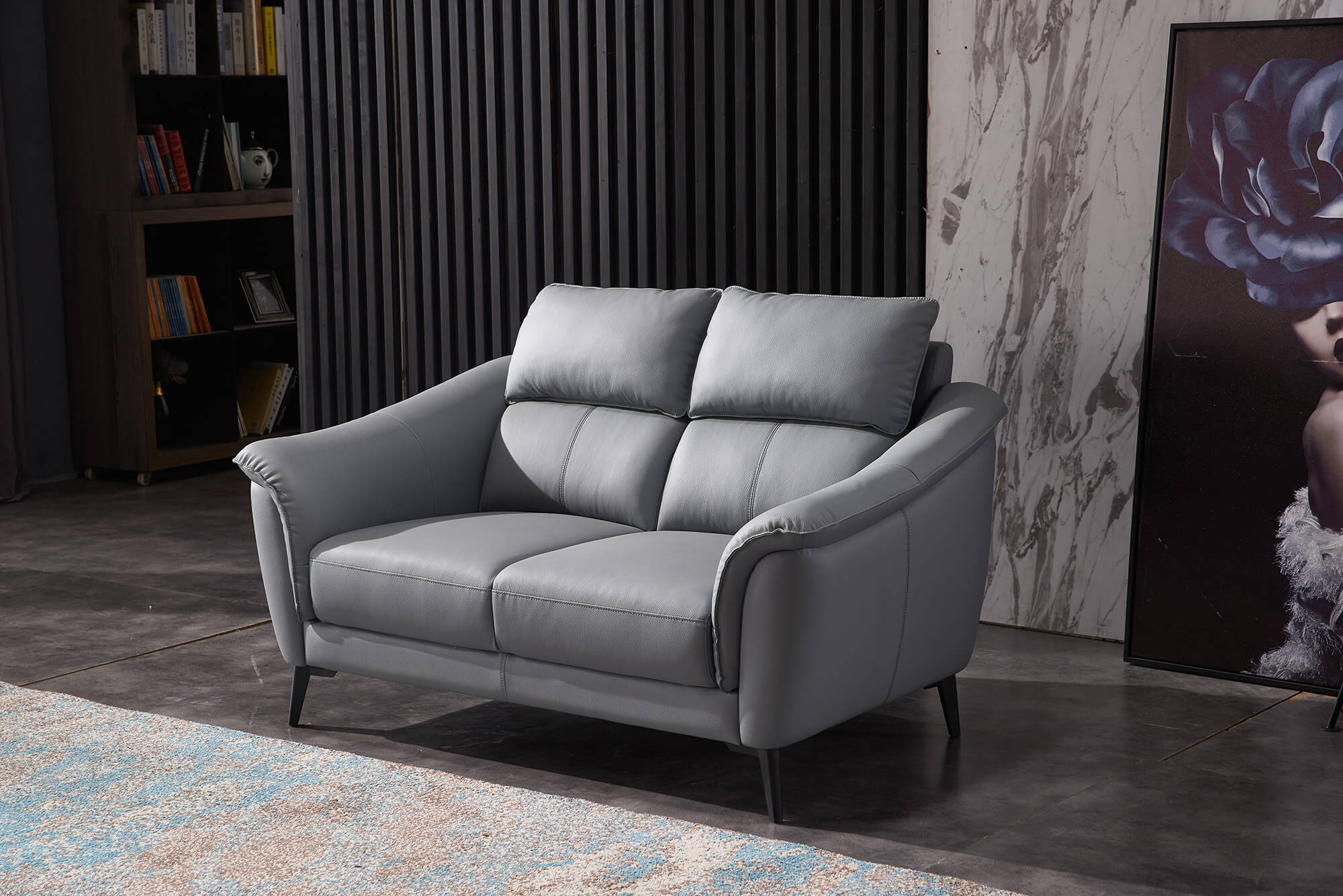 steel grey leather 2 seater sofa