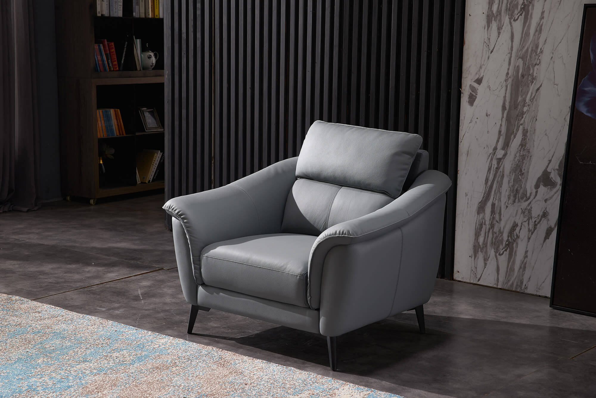 steel grey leather sofa armchair