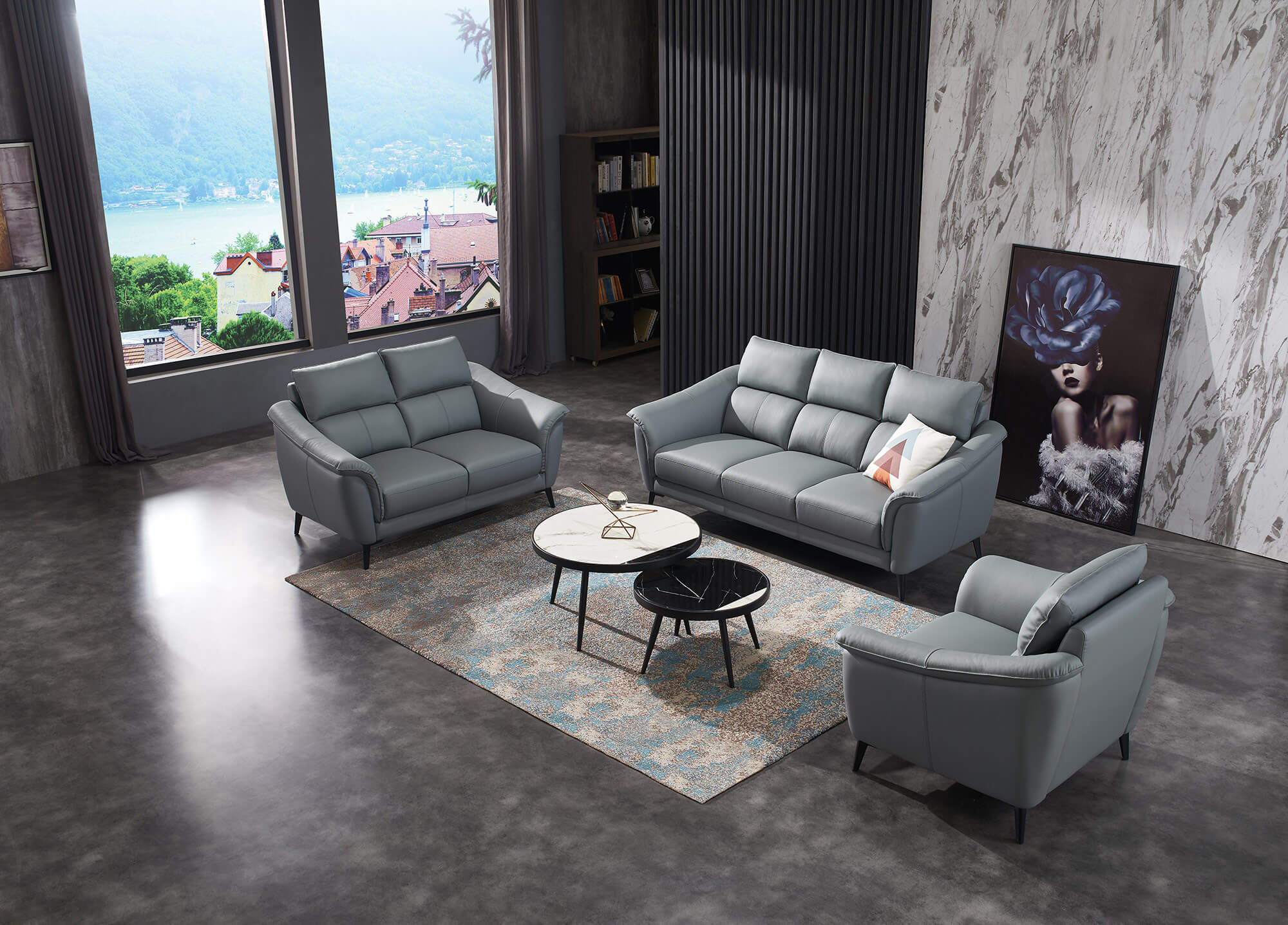 steel grey leather sofa set aerial