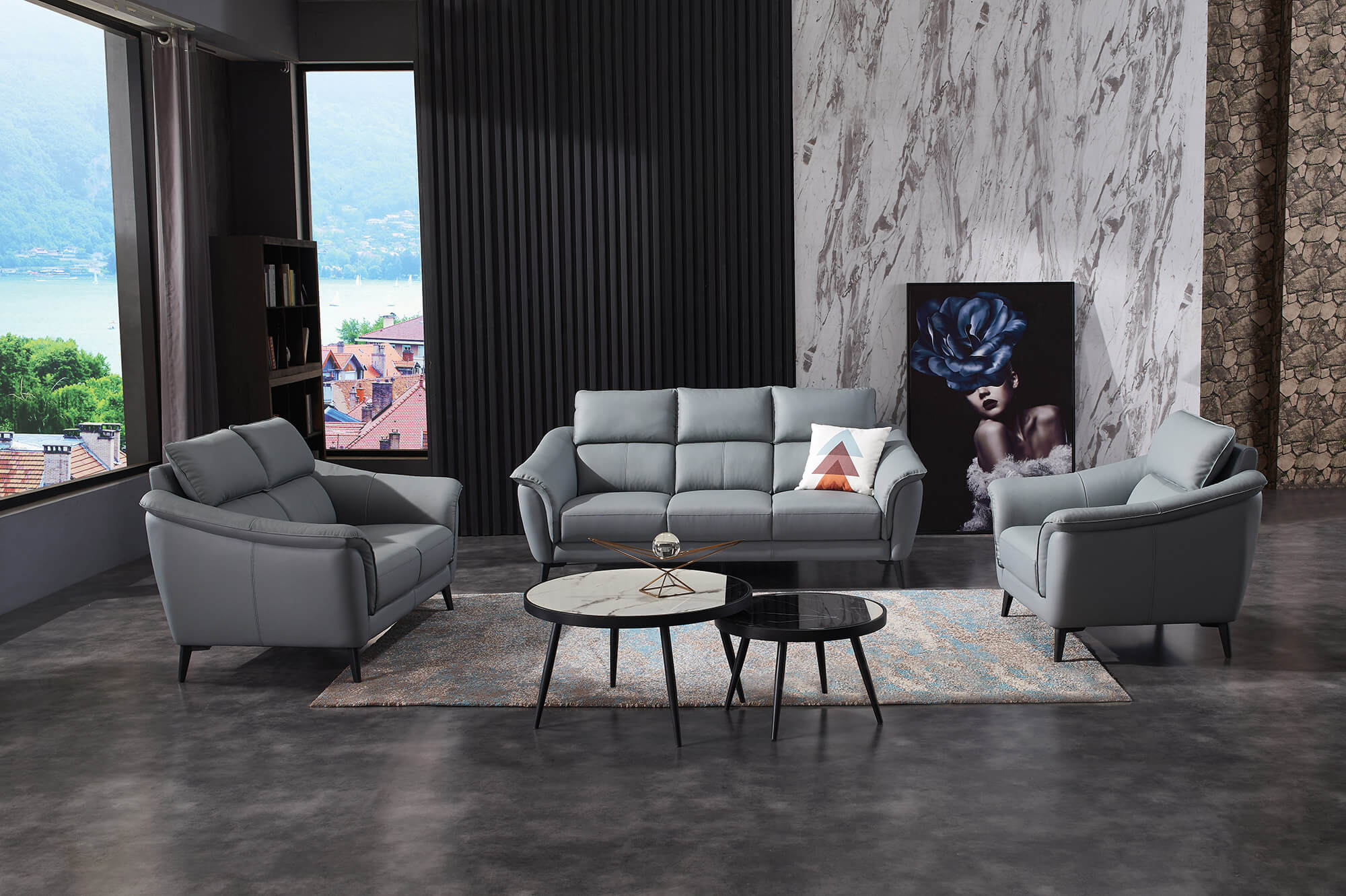 steel grey leather sofa set furniture