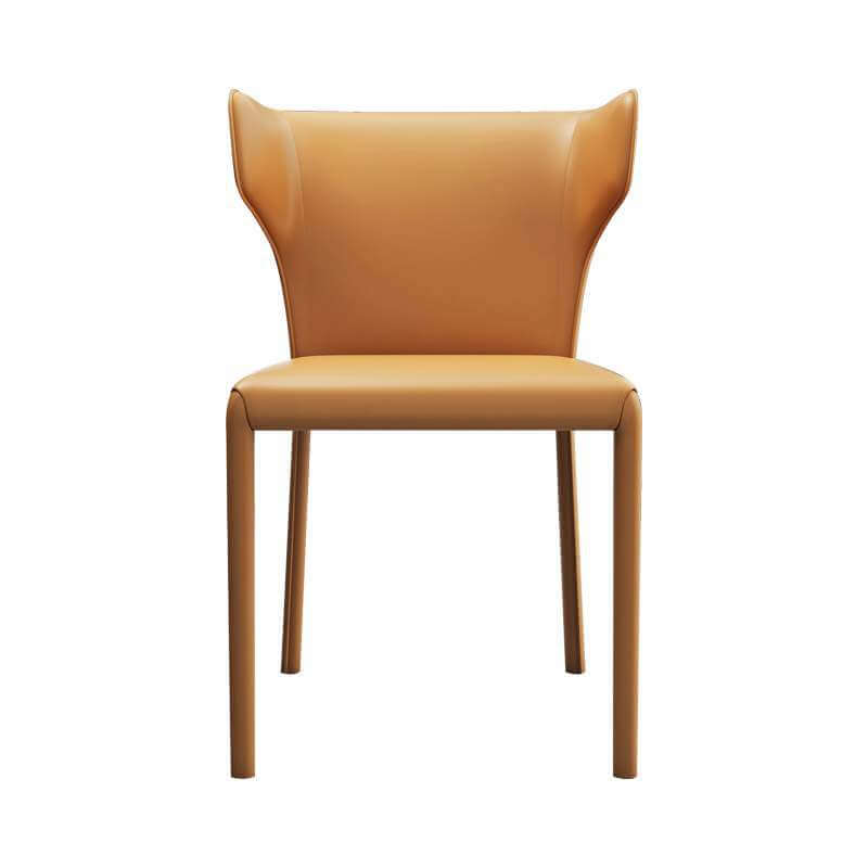 tan modern leather dining chair curved sides