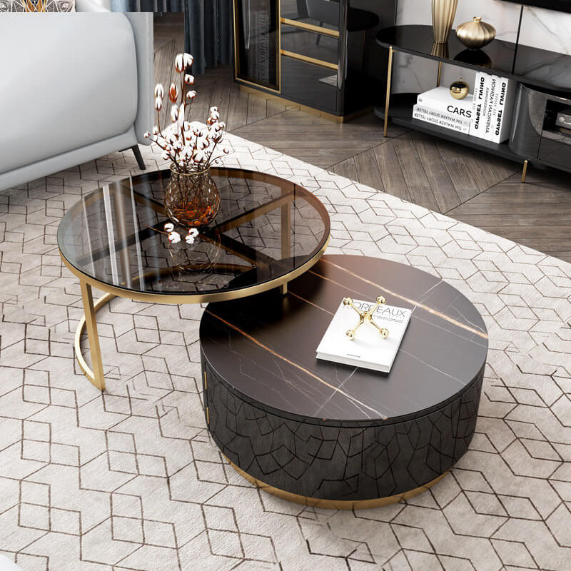 tempered glass top round modern coffee table