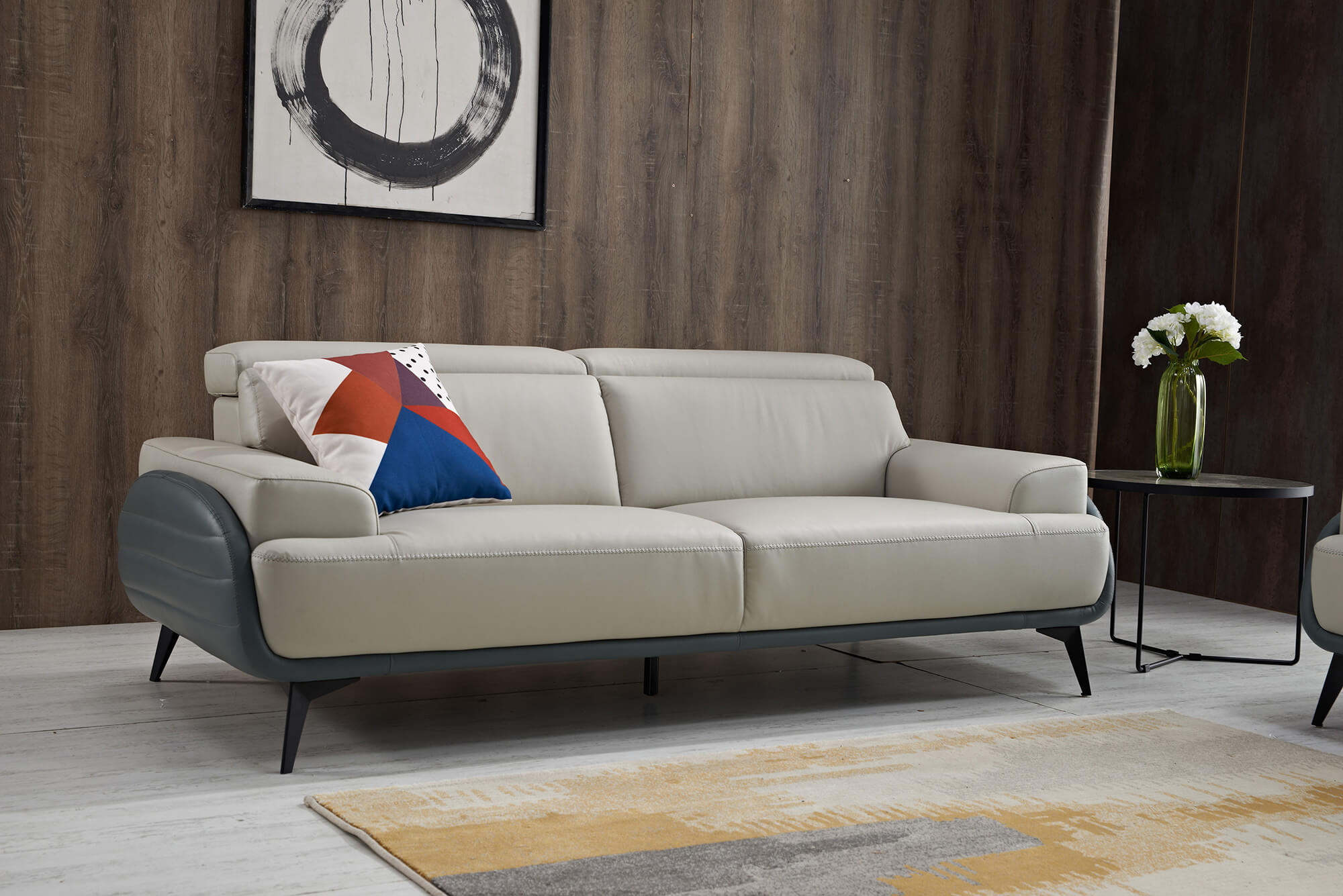 two tone leather sofa front living room