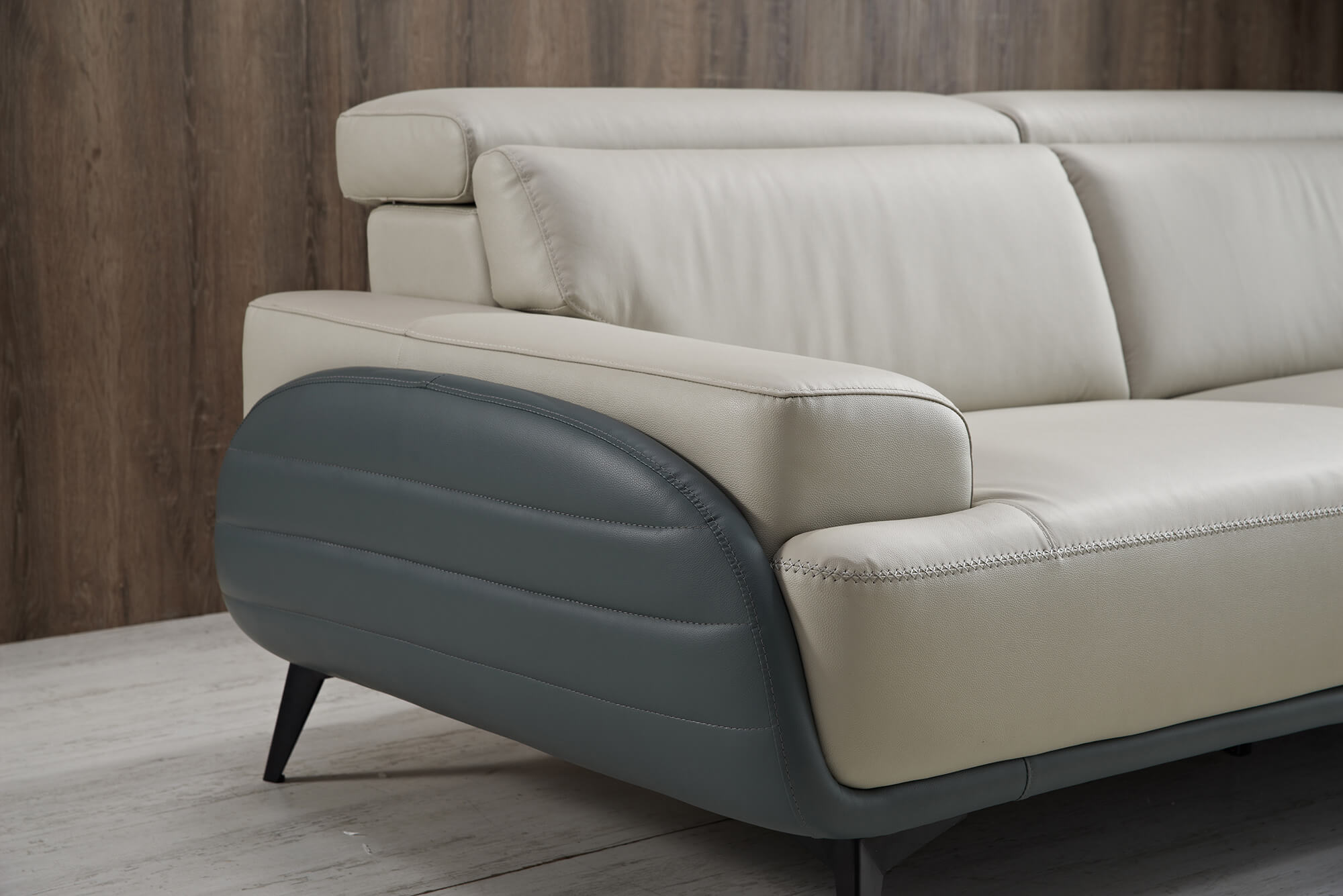 two tone leather sofa side