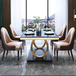 two tone luxury dining table marble