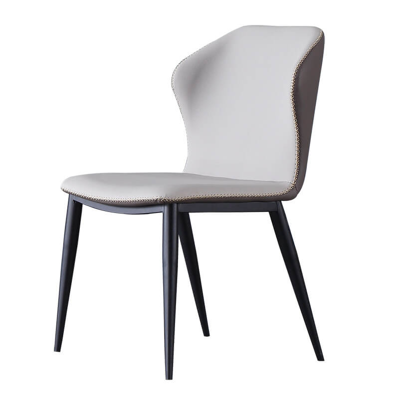 two tone stitched air leather fabric modern dining chair