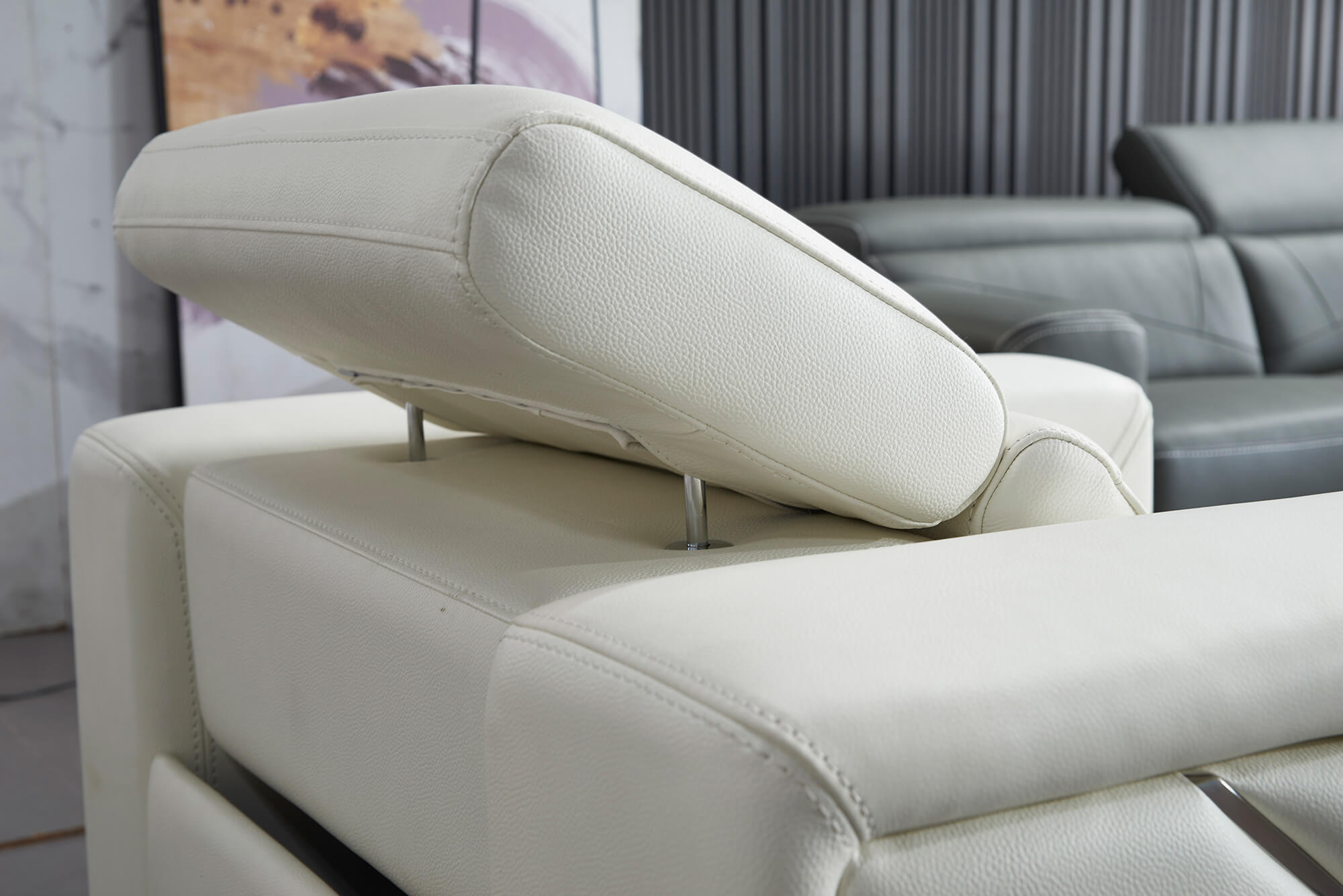 white leather electric recliner chair headrest