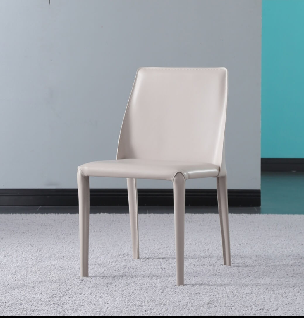 white leather modern dining chair