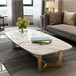 white marble coffee table closeup