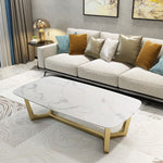 white marble coffee table gold stainless steel