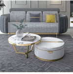 white marble gold trim round coffee table