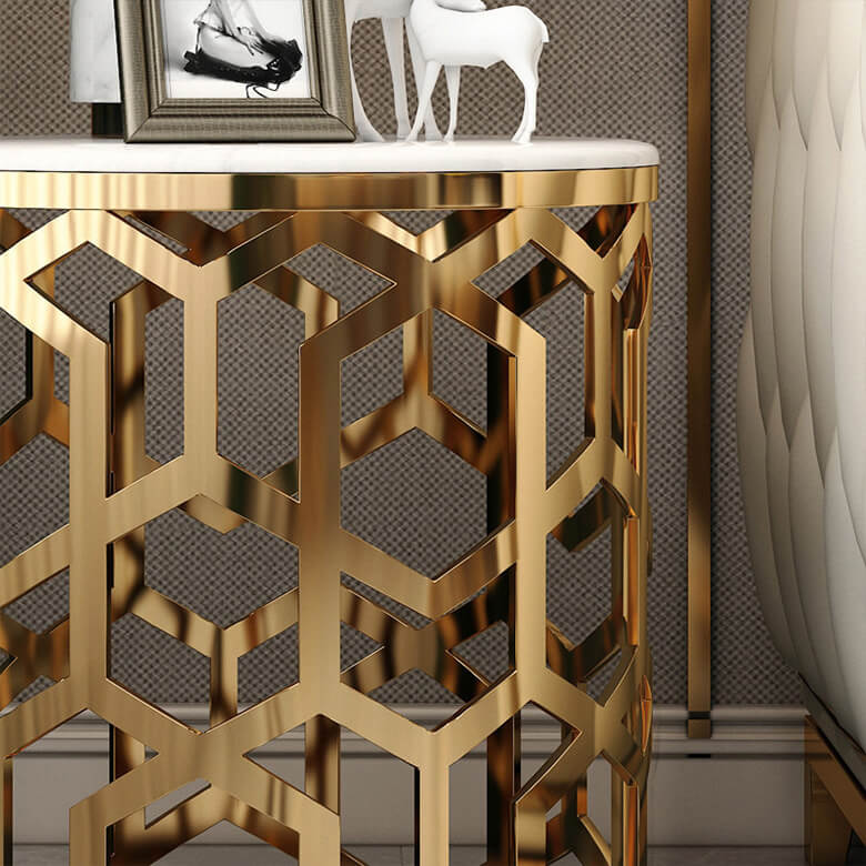 white marble side table gold stainless steel close up