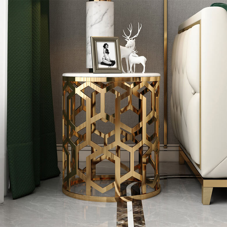white marble side table gold stainless steel living room