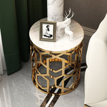 white marble side table gold stainless steel side view furniture