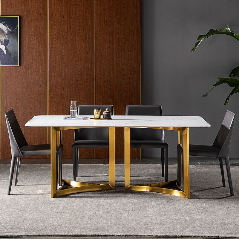 white sintered stone dining table