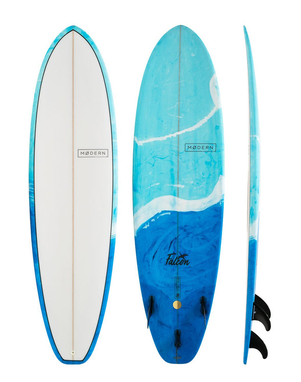 MODERN SURFBOARDS 7'6 MD FALCON PU BLUE SWIRL TINT