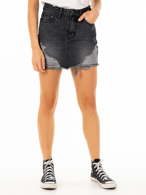 RUSTY TRASHED BACK DENIM SKIRT - ACB