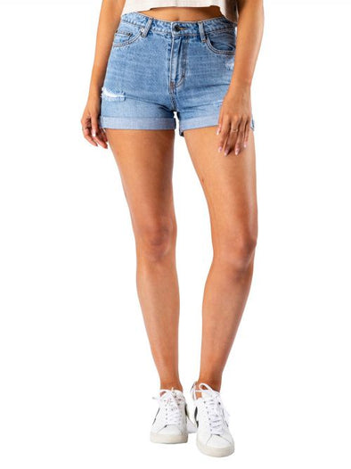 RUSTY LUCK ROLLED MID DENIM SHORT - THD