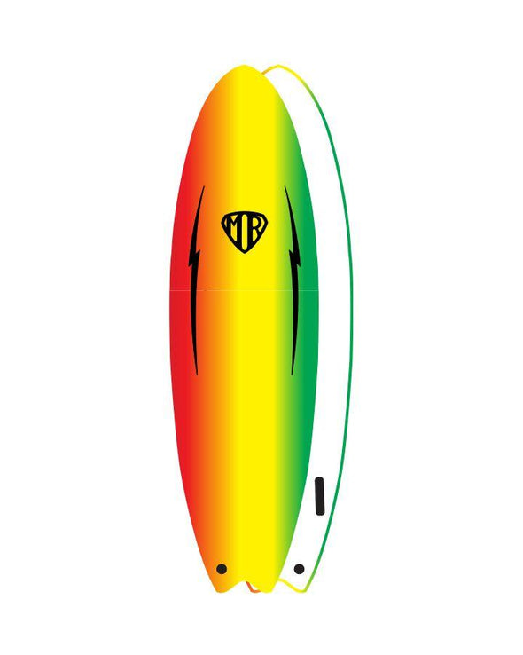 O & E MARK RICHARDS EZI-RIDER TWIN FIN SOFT TOP - RASTA