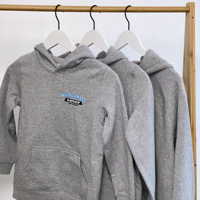 WHANGA SURF CORE LOGO KIDS HOOD - GREY MARLE
