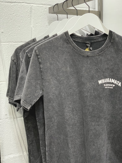 Whanga Surf CORE LOGO TEE - BLACK ACID STONE