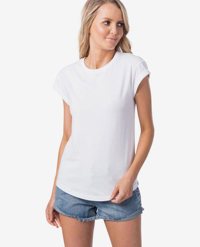 RIP CURL PLAINS ROLLED TEE - WOMENS WHITE