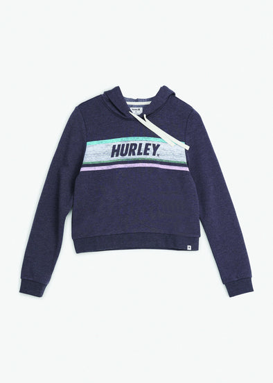 HURLEY SPORTY STRIPES PERFECT FLEECE - OIL GREY HEATHER