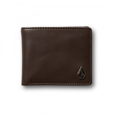 Mens Leather Wallet Volcom -Single Stone Brown
