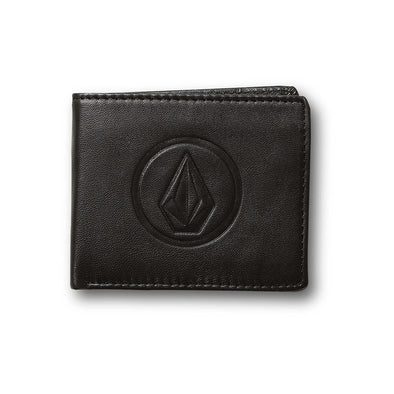 VOLCOM DOUBLE STONE LEATHER WALLET-BLK