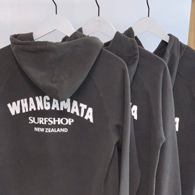 WHANGA SURF CORE LOGO HOOD - FADED BLACK