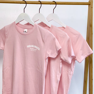 WHANGA SURF CORE LOGO GIRLS TEE - BLUSH PINK