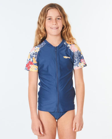 RIP CURL GIRLS Z-THRU S/S UV RASHVEST - 0049
