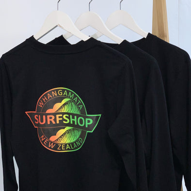 WHANGA SURF SHOP LOGO LONG SLEEVE TEE - BLACK