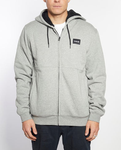 HURLEY PINEDS SHERPA FLEECE FZ - DARK HEATHER GREY