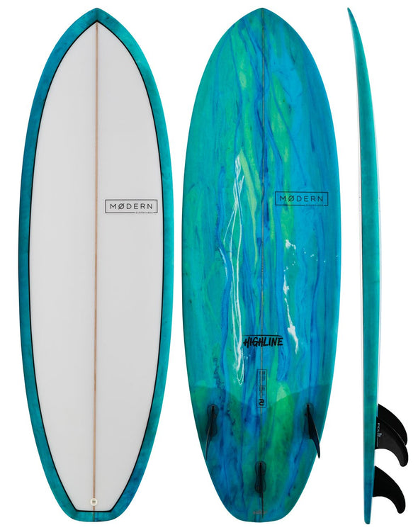 MODERN SURFBOARDS 5'8 HIGHLINE SEA TINT